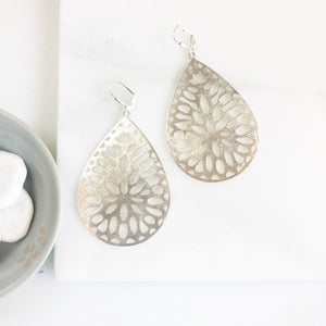 Large Teardrop Statement Earrings in Silver. Silver Statement Earrings. Big Silver Teardrop Earrings.