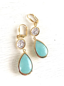 Earrings Aqua Teardrop and Clear CZ Dangle Bridesmaid Earrings in Gold. Drop Earrings. Turquoise Dangle Earrings. Bridal Party Jewelry.
