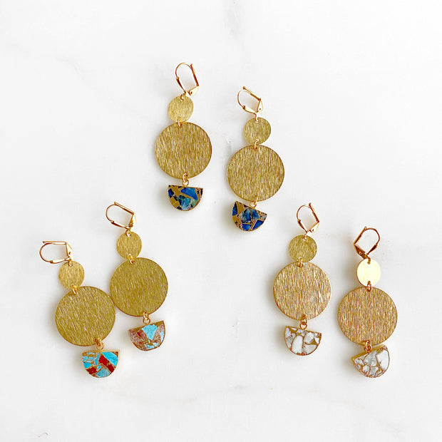 Mojave Half Moon and Brushed Gold Circle Statement Earrings. Geometric Earrings