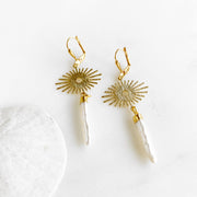Mother of Pearl Earrings with Sunburst Charms. Gold Sun Pearl Stick Long Dangle Earrings
