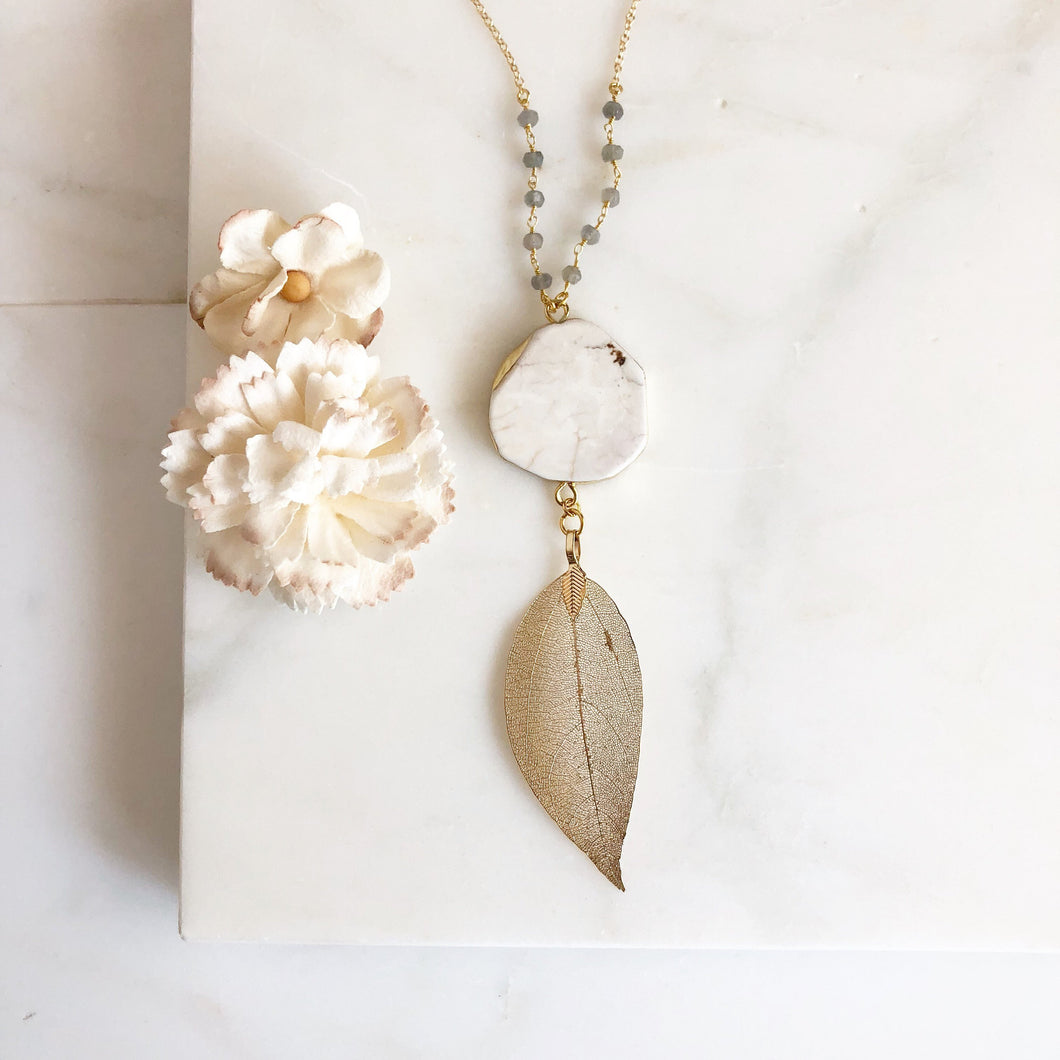Long Gold Leaf Necklace. Layering Necklace. White Stone. Long Necklace. Beaded Necklace. Jewelry. Boho Jewelry. Gold Necklace.