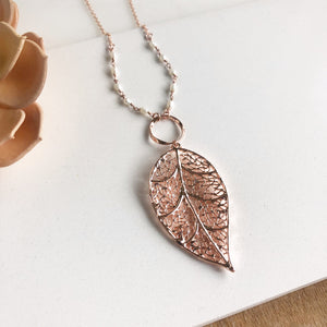 Long Rose Gold Necklace. Rose Gold Leaf and Pearl Accent Beading Necklace.