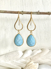 Load image into Gallery viewer, Turquoise Blue Teardrop Dangle Earrings. Turquoise Drop Earrings. Large Gold Dangle Earrings. Wedding Jewelry. Gift for Her. Jewerly.
