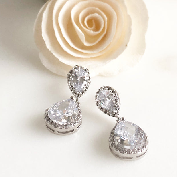 Cubic Zirconia Bridal Earrings in Silver. Drop Post Earrings.