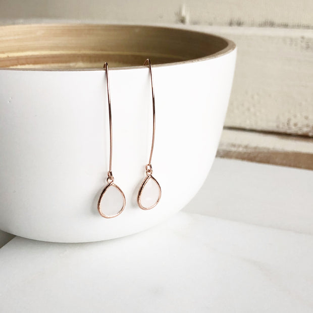 Rose Gold and Smokey White Drop Earrings. Bridesmaid Gift. Rose Gold Wedding Jewelry. Gift.