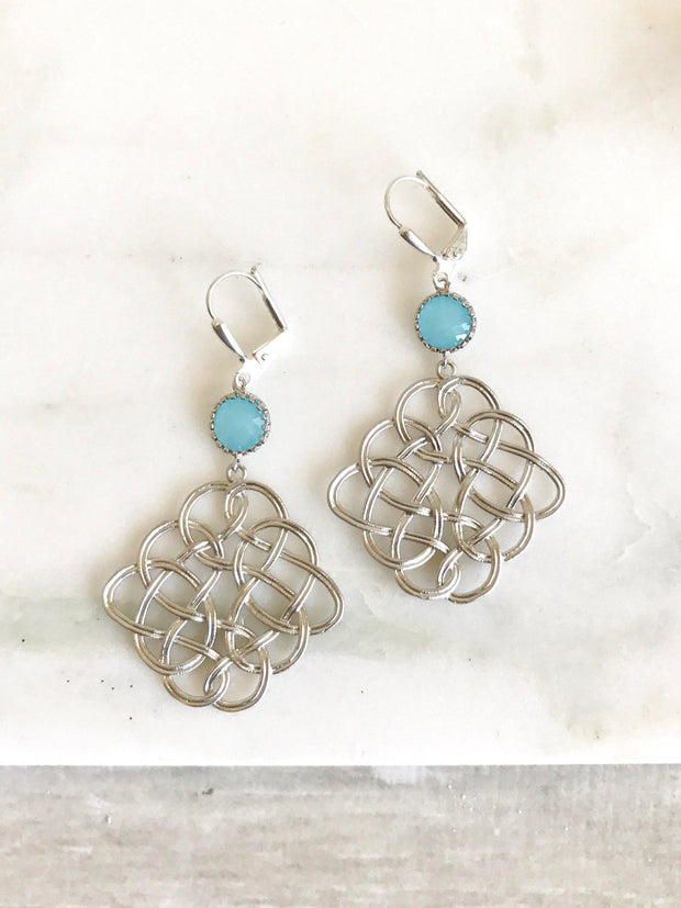 Celtic Pendant Statement Earrings with Sky Blue Jewels. Dangle Earrings. Blue Earings.