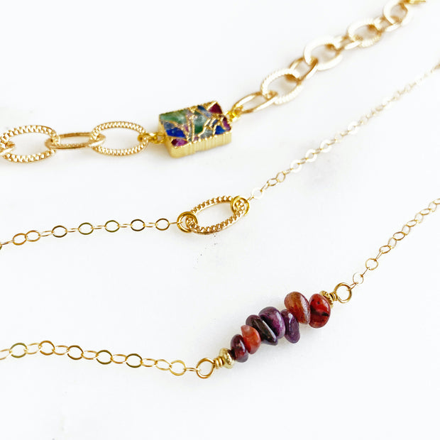Ruby Beaded Bar Bracelet in Gold. Dainty Gold Red Ruby Bracelet