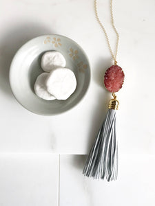 Coral Druzy and White Leather Tassel Necklace. Long Tassel Necklace in Gold. Long Druzy Boho Necklace.