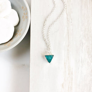 Petite Turquoise Triangle Necklace in Sterling Silver. Simole Delicate Amazonite Necklace. Turquoise Jewelry in Silver. Layering Necklace.