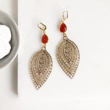 Load image into Gallery viewer, Statement Earrings with Carnelian Stones and Gold Teardrops. Large Gold Earrings. Gift.