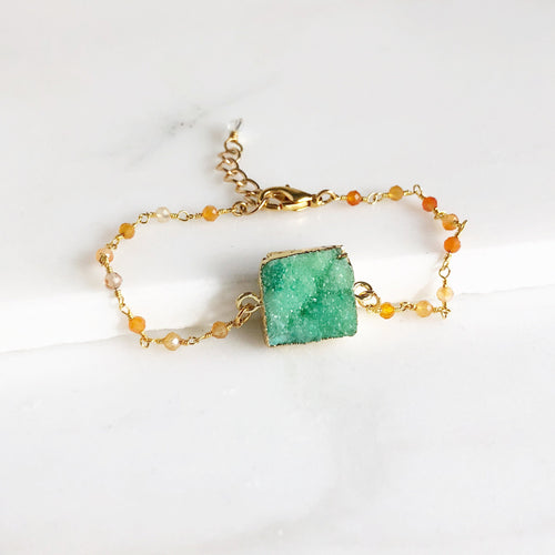 Green Druzy Bracelets in Gold. Colorful Druzy Bracelets. Raw Crystal Orange Bead Bracelet. Statement Jewelry. Holiday Jewelry. Gift for Her.