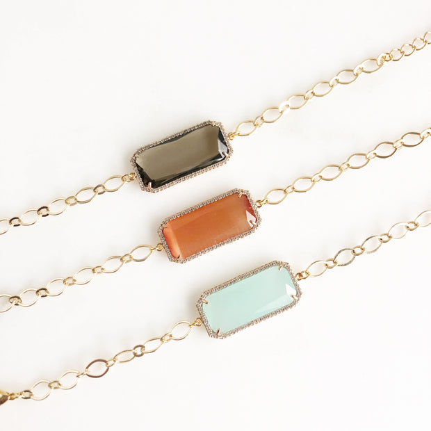 Jewel Bracelets in Gold. Rectangle Jewel Bracelets with Cubic Zirconia Accents. Jewelry.
