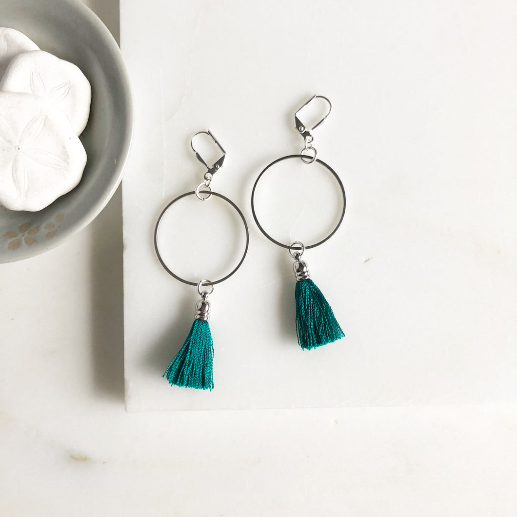 Teal Emerald Tassel Earrings with Silver Hoops. Teal Emerald Tassel Earrings. Silver Hoop Earrings.