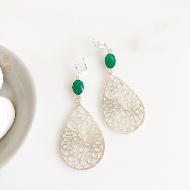 Large Silver Teardrop Earrings with Green Onyx Stones. Silver and Green Statement Earrings.