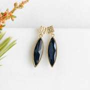 Gold Post Earrings with Black Stones. Simple Black Gold Classy Formal Earrings