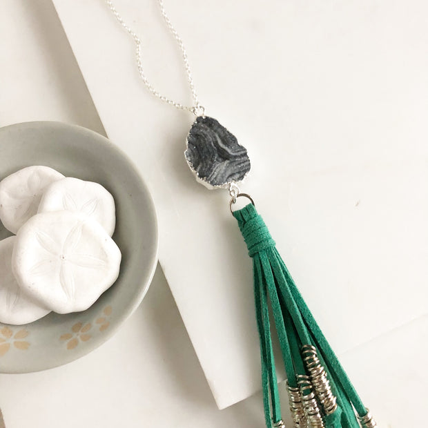 Boho Tassel Necklace. Teal Tassel and Grey Druzy in Sterling Silver. Long Tassel Necklace.