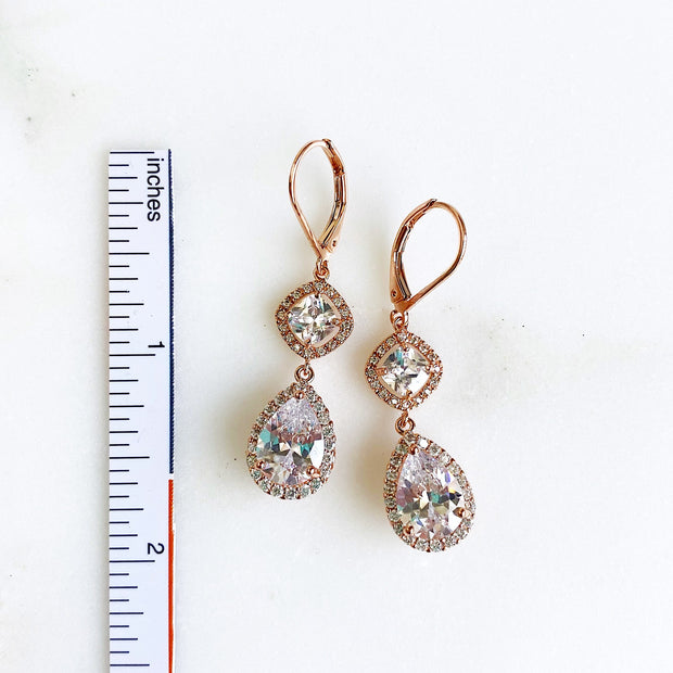 Rose Gold Bridal Earrings. Rose Gold Dangle Earrings with CZ Stones. Rose Gold Wedding Jewelry