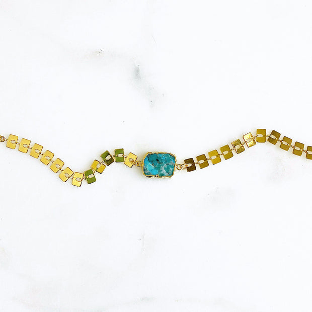 Turquoise and Gold Flat Chain Link Bracelet. Gold Statement Bracelet