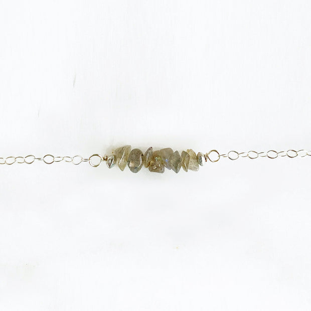 Simple Raw Stone Necklace. Dainty Chip Beaded Bar Necklace in Sterling Silver, Gold or Rose Gold