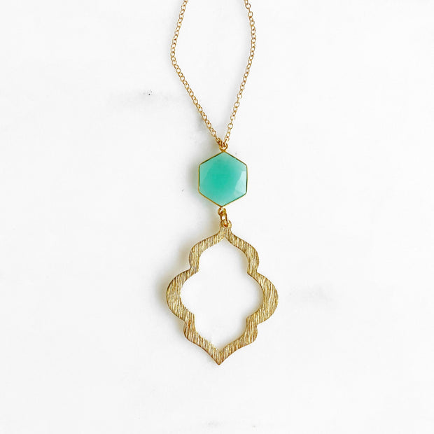 Long Aqua Chalcedony Pendant Necklace in Gold. Simple Long Gold Stone Necklace
