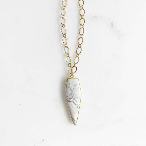 Long Bezel Stone Necklace with Chunky Gold Chain. Long Gold Necklace