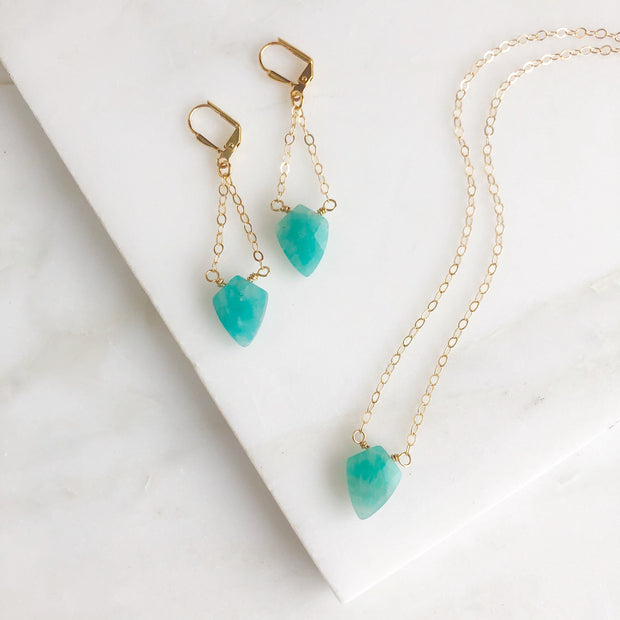 Gemstone Jewelry Set. Amazonite Necklace and Earrings in Gold. Gemstone Set.