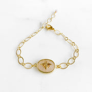 Cute Bumblebee Chain Bracelet in Gold. Dainty Bee Gold Chain Bracelet