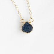 Tiny Druzy Heart Teardrop Necklaces in Gold. Blue Black Pink Aqua Neutral. Simple Delicate Druzy Necklace