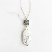 Long Bezel Stone Pendant Necklace with Sparkly Grey Druzy. Long Gold Statement Necklace