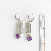Cute Gemstone Oval Drop Earrings in Silver. Unique Silver Wire Ladder Dangle Earrings