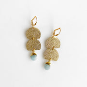 Gemstone and Brushed Brass Dangle Earrings. Geometric Stone Drop Gold Earrings