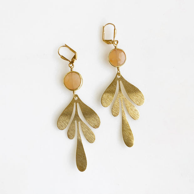 Gold Long Leaf Earrings with Gemstone Bezels. Brushed Brass Dangle Earrings