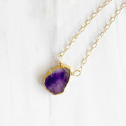 Dainty Gemstone Necklace in Gold. Delicate Gemstone Slice Necklace. Simple Gemstone Layering Necklace