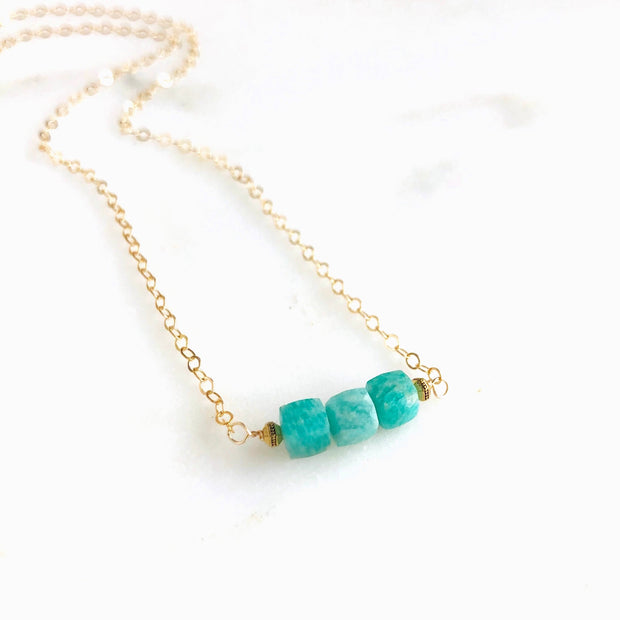 Amazonite Cube Necklace in Gold