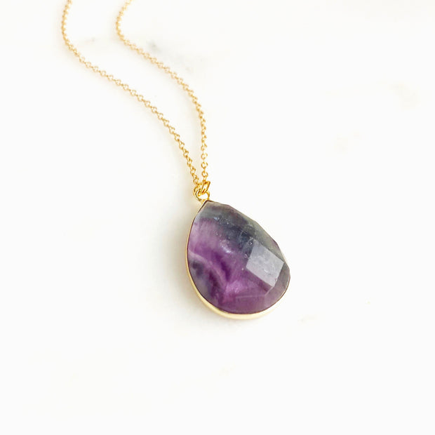 Rainbow Flourite Teardrop Pendant Necklace in Gold