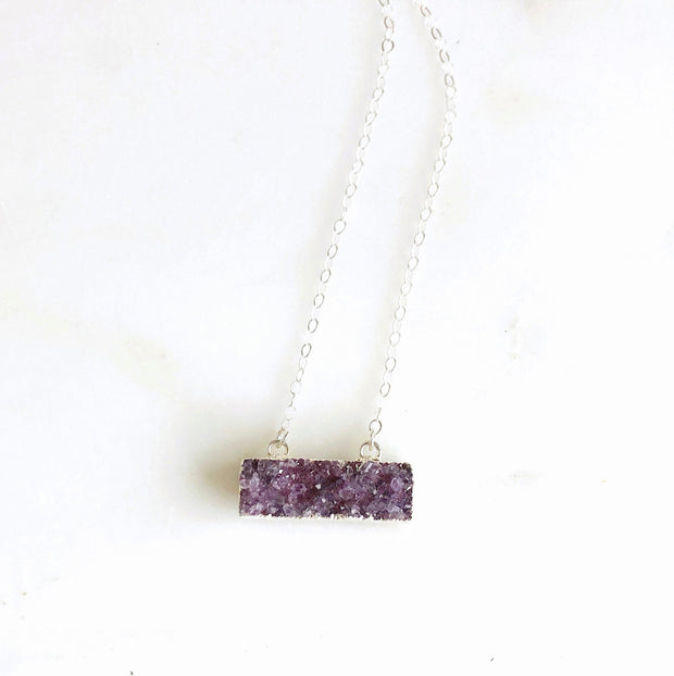 Small Purple Druzy Bar Necklace in Sterling Silver