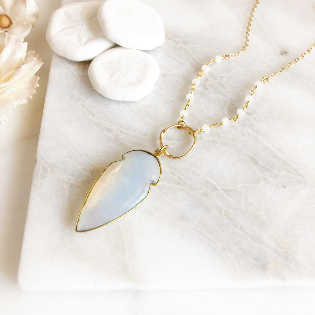 Long Moonstone Necklace in Gold. Long Moonstone Shield Necklace. Jewelry.