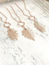 Load image into Gallery viewer, Long Rose Gold Leaf Necklace. Rose Gold Leaf Necklace. Long Rose Gold Bohemian Necklace. Rose Gold Necklace. Rose Gold Jewelry.