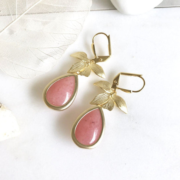 Coral Pink and Gold Orchid Teardrop Drop Earrings. Coral Pink Dangle Bridesmaid Earrings