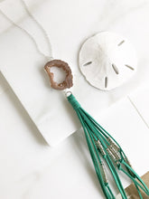 Load image into Gallery viewer, Boho Tassel Necklace. Turquoise and Peach Tassel Necklace in Silver. Long Turquoise Slice Tassel Necklace. Boho Jewelry. Unique Gift Idea.