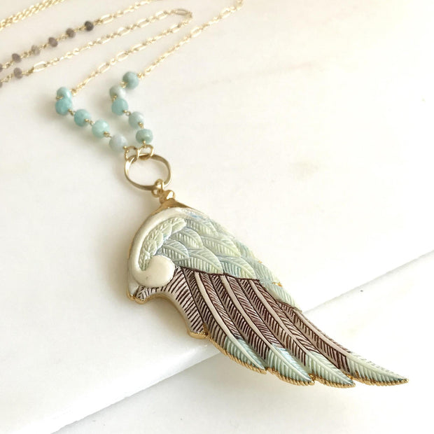 OOAK Wing Long Necklace with Amazonite Beaded Chain. Long Unique Boho Necklace in Cream and Aqua