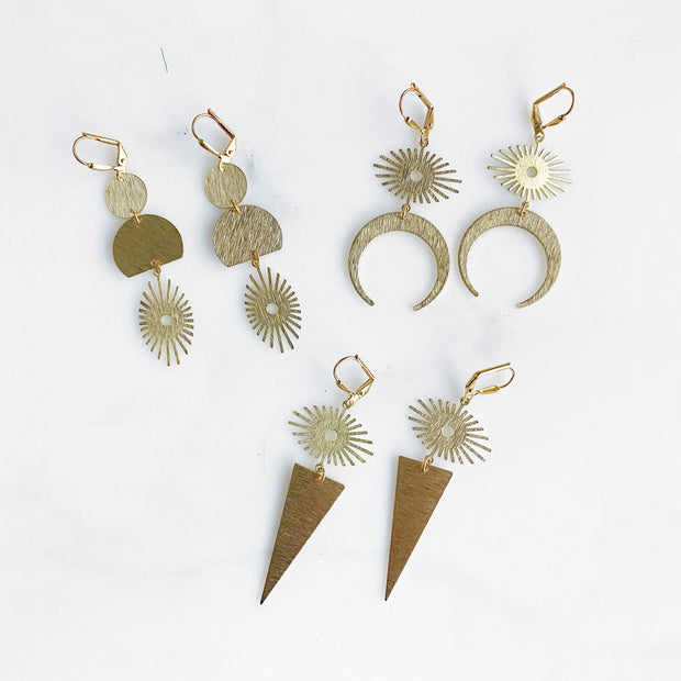 Brushed Gold Dangle Earrings with Sunburst Charms. Sun Dangle Earrings
