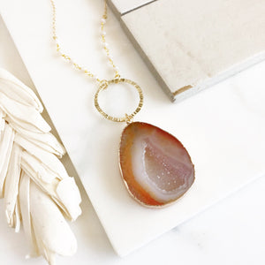 Druzy Stone Pendant Necklace. Long Necklace.