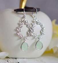 Load image into Gallery viewer, Light Mint Teardrop and Silver Branch Teardrop Dangle Earrings. Long Silver Dangle Earrings. Fashion Jewel Earrings. Gift. Holiday Gift.