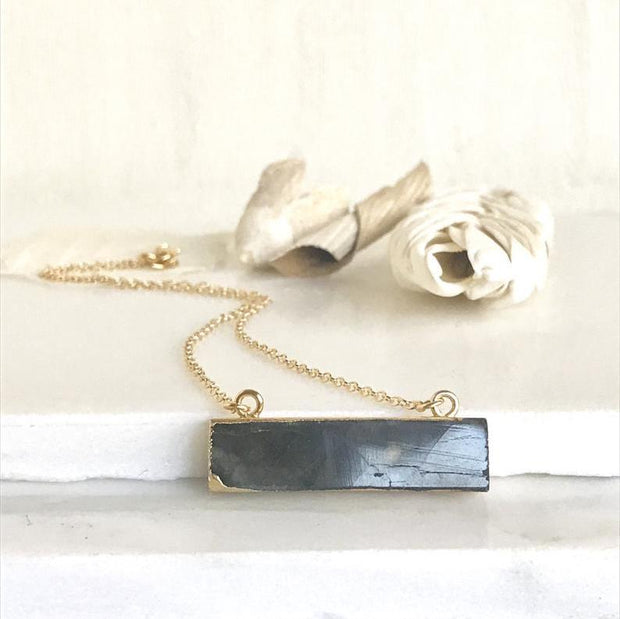 Simple Gold Bar Necklace. Labradorite Necklace. Everyday Gold Bar Necklace