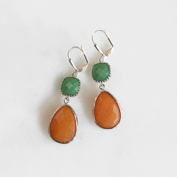 SALE Spring Earrings. Orange and Spring Green Dangle Teadrop Earrings in Silver. Fashion Orange Jewel Earrings. Dangle Earrings. Gift.
