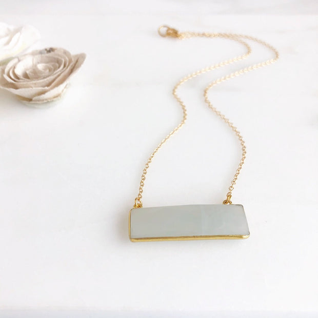 Gold Moonstone Bar Necklace. Gemstone Bar Necklace. Gold Bar Necklace. Gift For Her. Christmas Gift.