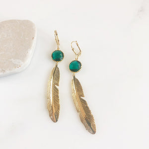 Gold Leaf Earrings with Emerald Green Stones. Long Gold Fashion Earrings. Leaf Earrings. Leaf Earrings. Big Earrings. Jewelry.