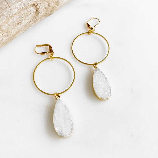 White Druzy Teardrop Hoop Earrings in Gold. Big Druzy Hoop Earrings