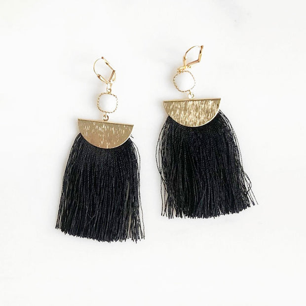 Small White Stone Tassel Earrings in Gold. Copper Grey Black Tassel Fashion Earrings